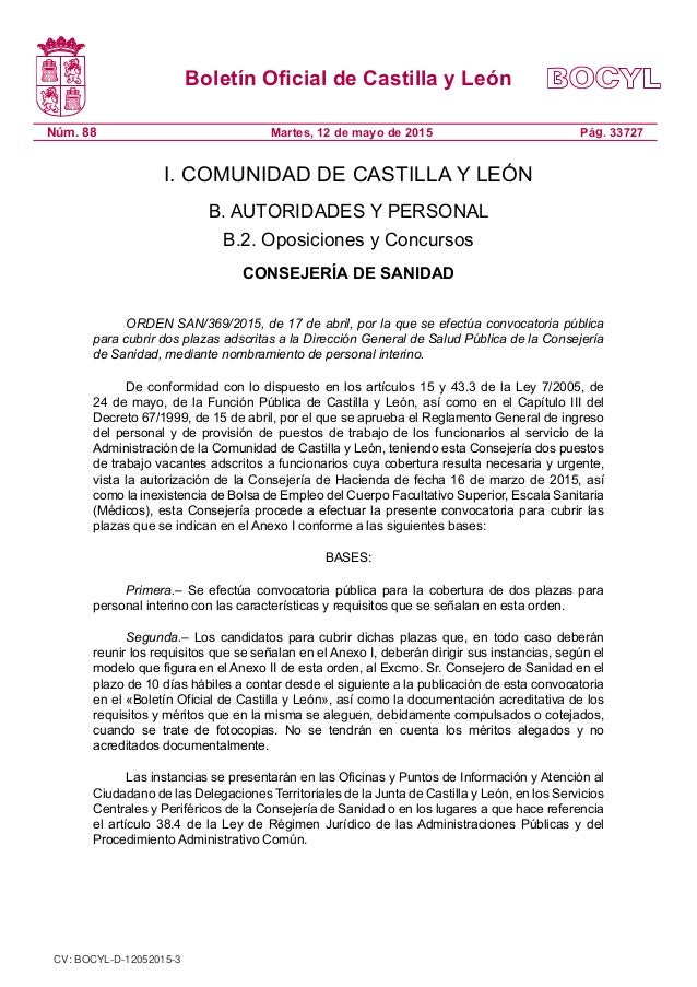 Oferta de empleo direcci n general de salud p blica for Oficina empleo castilla y leon