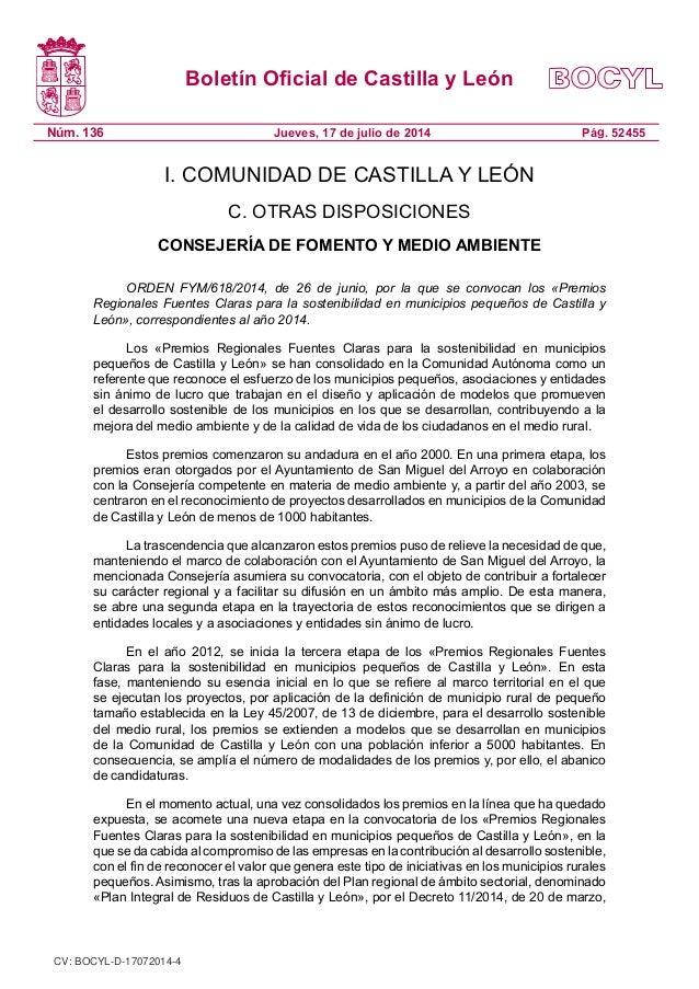 Boletín Oficial de Castilla y León Núm. 136 Pág. 52455Jueves, 17 de julio de 2014 I. COMUNIDAD DE CASTILLA Y LEÓN C. OTRAS...