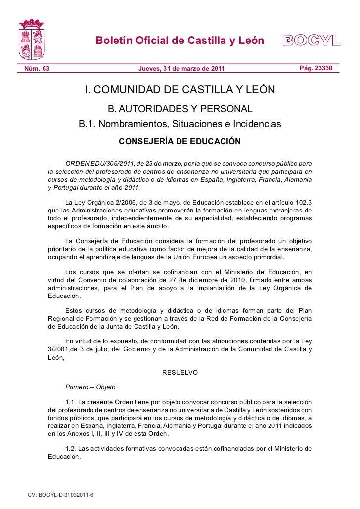 Boletín Oficial de Castilla y LeónNúm. 63                              Jueves, 31 de marzo de 2011                        ...