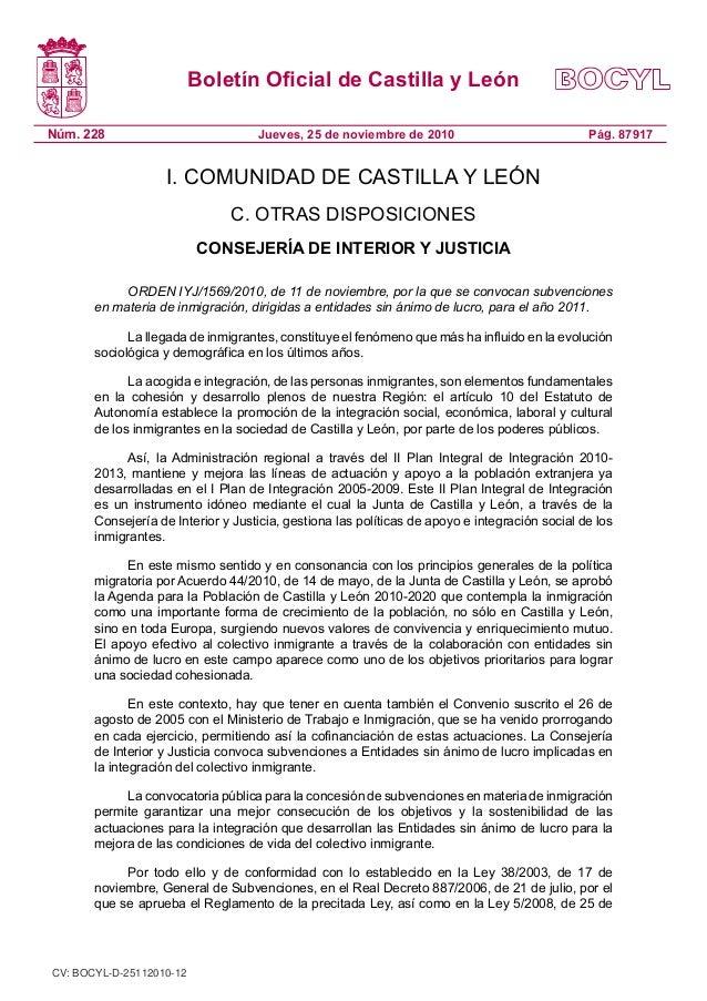 Boletín Oficial de Castilla y León Núm. 228 Pág. 87917Jueves, 25 de noviembre de 2010 I. COMUNIDAD DE CASTILLA Y LEÓN C. O...