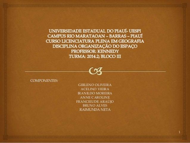 COMPONENTES: GIRLENO OLIVEIRA ACELINO VIEIRA IRANILDO MOREIRA ANNE CAROLINE FRANCIEUDE ARAÚJO BRUNO ALVES RAIMUNDA NETA 1