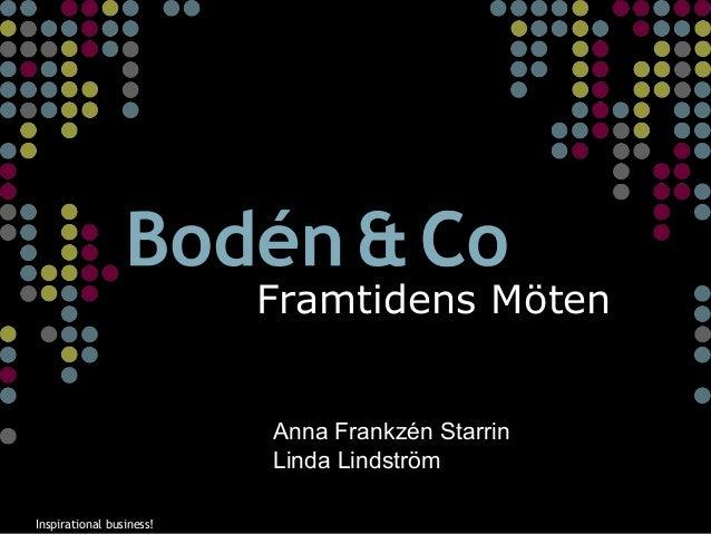 Inspirational business!Inspirational business! Framtidens Möten Anna Frankzén Starrin Linda Lindström