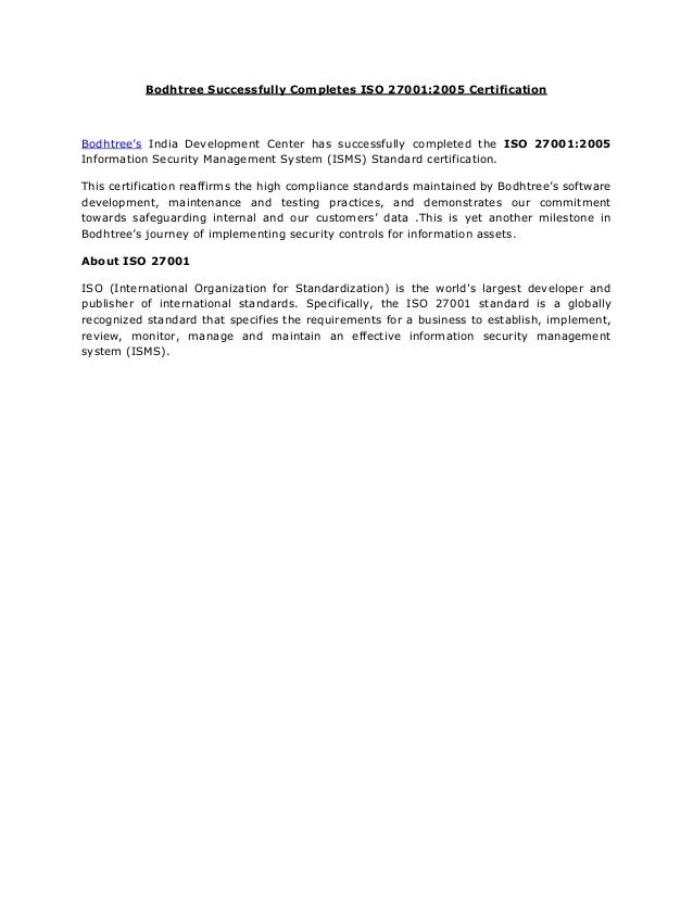 Bodhtree Successfully Completes ISO 27001:2005 Certification