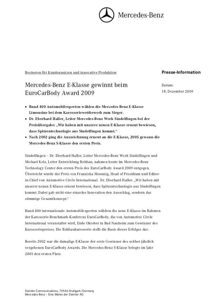 Bestnoten für Kundennutzen und innovative Produktion                                Presse-InformationMercedes-Benz E-Klas...