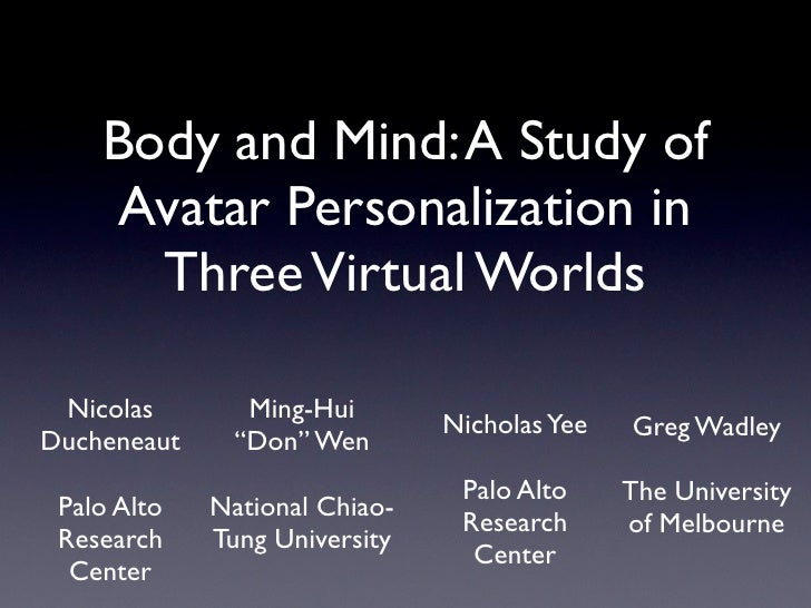 Body And Mind  A Study Of Avatar Personalization In Three Virtual Worlds