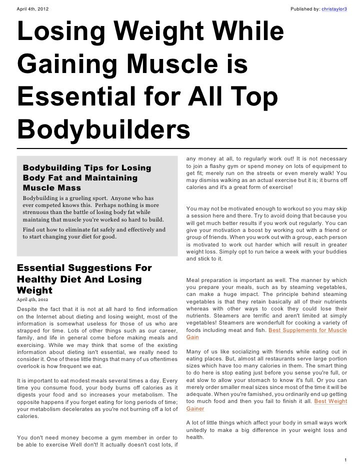 Bodybuilding Tips for Losing Body Fat and Maintaining Muscle Mass
