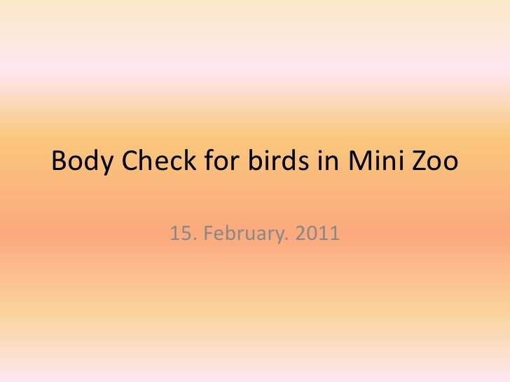 Body Check for birds in Mini Zoo<br />15. February. 2011<br />