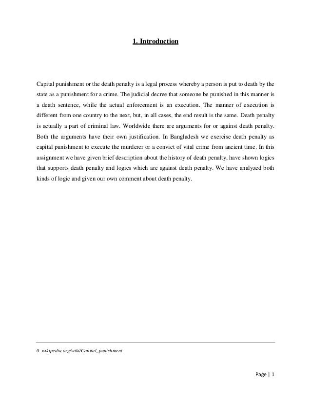Death penalty research paper intro