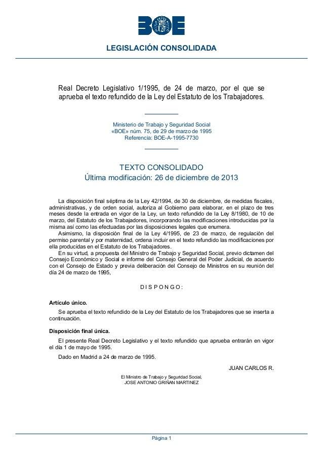 LEGISLACIÓN CONSOLIDADA  Real Decreto Legislativo 1/1995, de 24 de marzo, por el que se aprueba el texto refundido de la L...