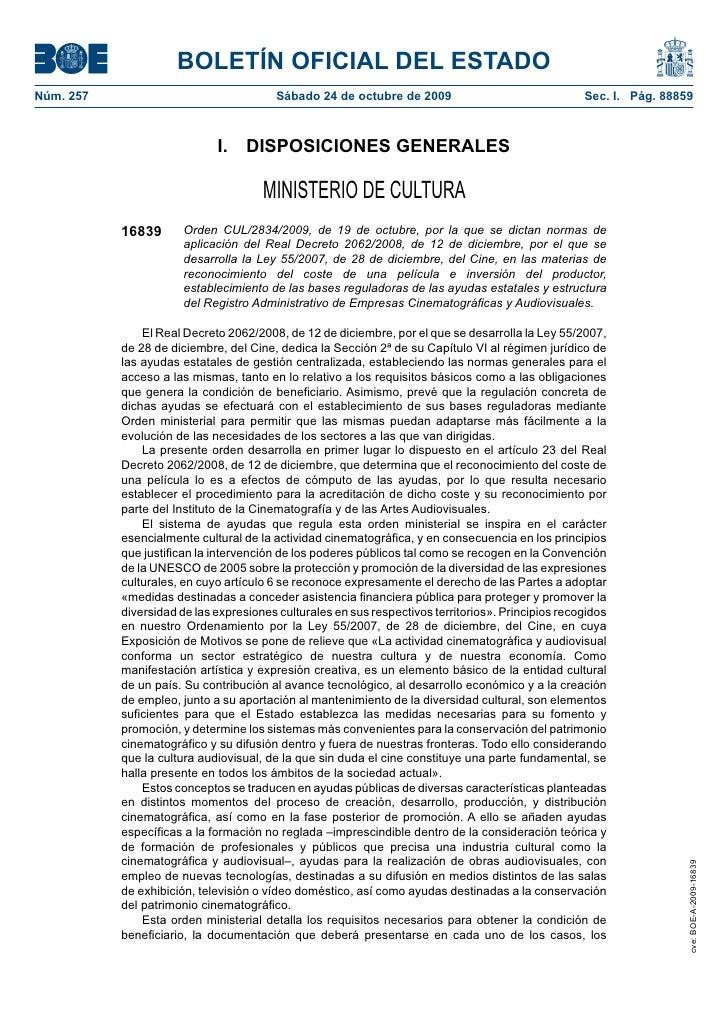 BOLETÍN OFICIAL DEL ESTADO Núm. 257                                 Sábado 24 de octubre de 2009                          ...