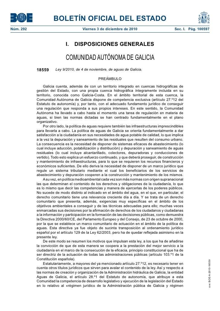Ley de Aguas en Galicia