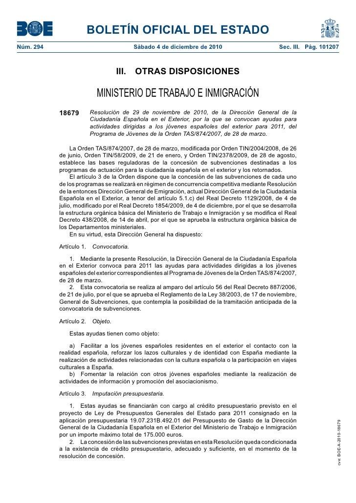 BOLETÍN OFICIAL DEL ESTADONúm. 294                               Sábado 4 de diciembre de 2010                            ...