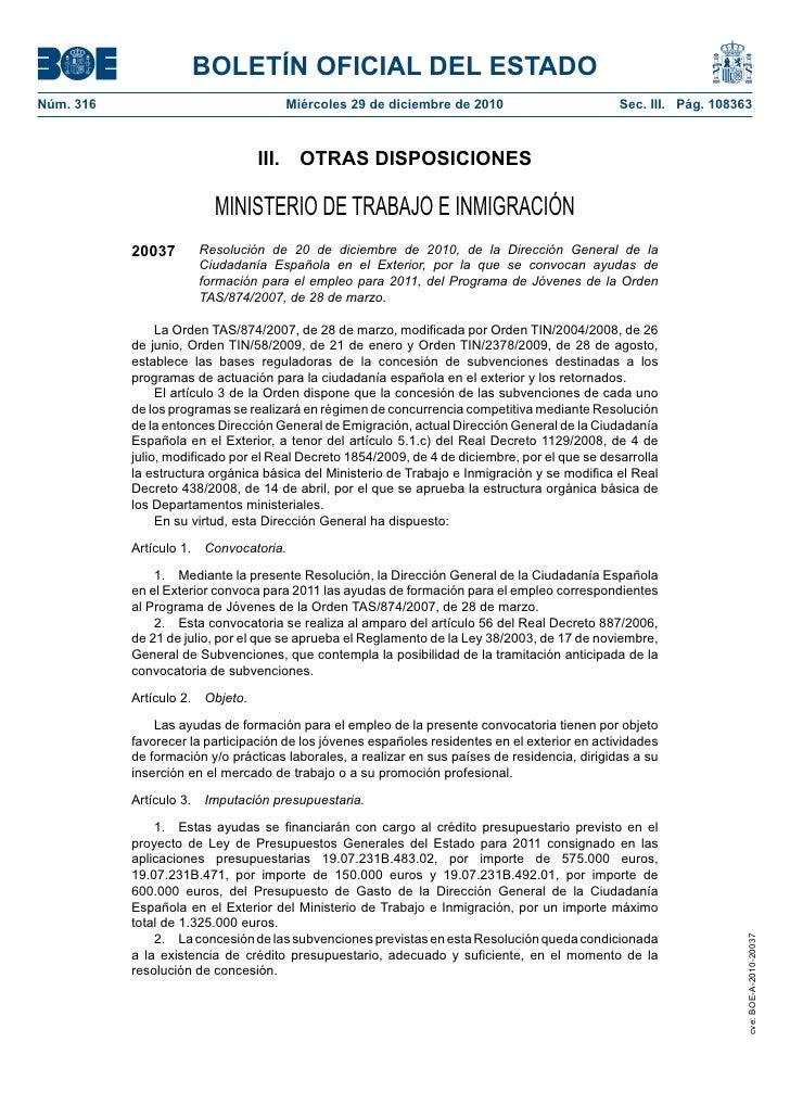 BOLETÍN OFICIAL DEL ESTADO Núm. 316                             Miércoles 29 de diciembre de 2010                         ...