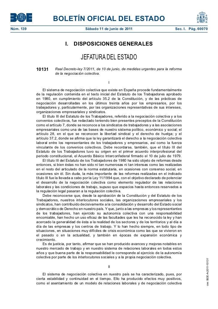 BOLETÍN OFICIAL DEL ESTADONúm. 139                                   Sábado 11 de junio de 2011                           ...