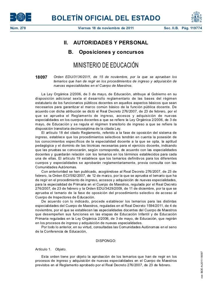 BOLETÍN OFICIAL DEL ESTADONúm. 278                              Viernes 18 de noviembre de 2011                      Sec. ...