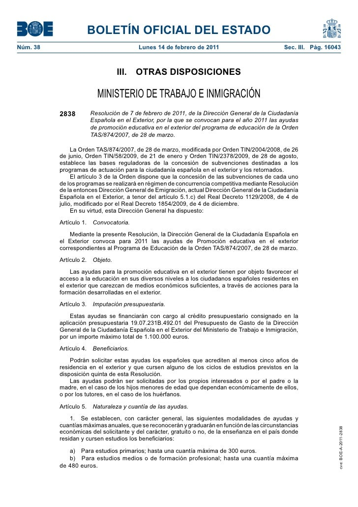 BOLETÍN OFICIAL DEL ESTADONúm. 38                                Lunes 14 de febrero de 2011                            Se...