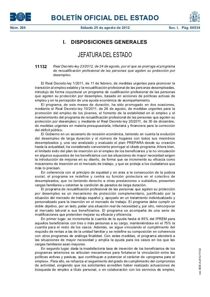 Novedades en el Plan Prepara 2012 (Boe a-2012-11132)