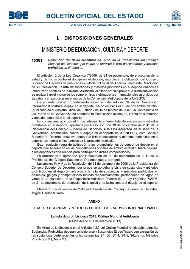 BOLETÍN OFICIAL DEL ESTADONúm. 306 Viernes 21 de diciembre de 2012 Sec. I. Pág. 86870I. DISPOSICIONES GENERALESMINISTER...
