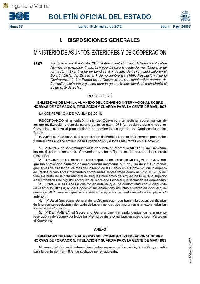 Enmiendas Manila al Convenio STCW (BOE) - 29 pp