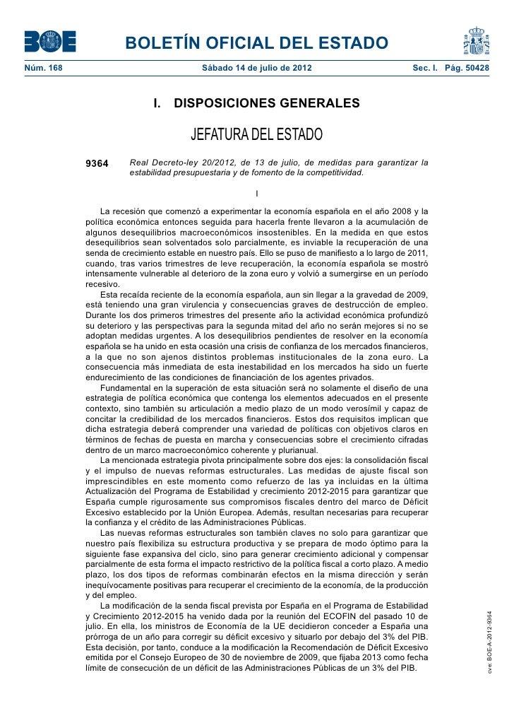 BOLETÍN OFICIAL DEL ESTADONúm. 168                                  Sábado 14 de julio de 2012                          ...