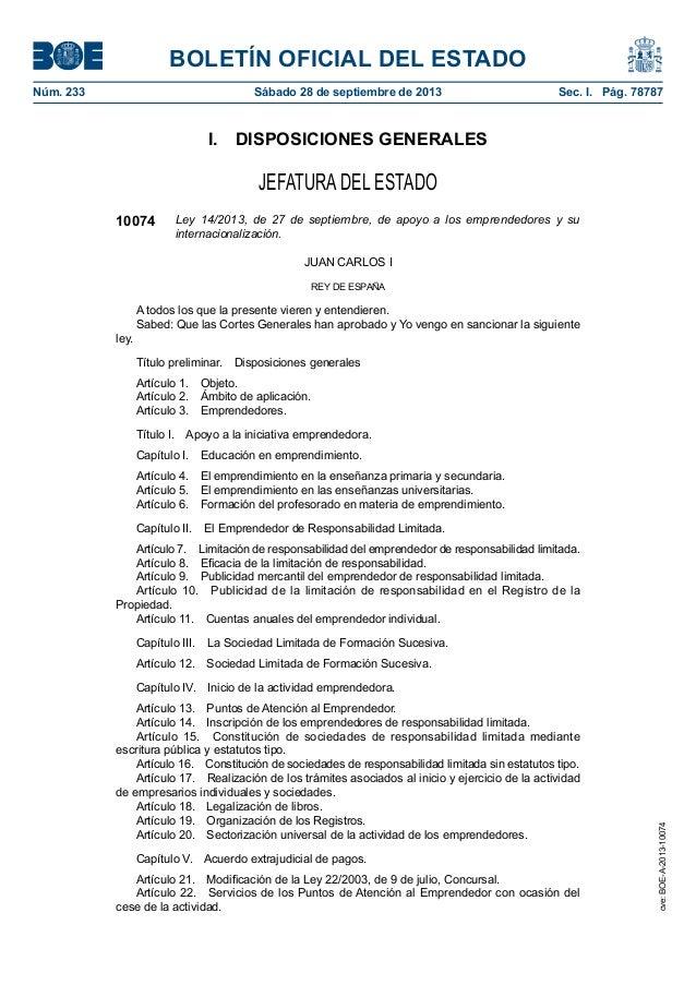 Ley Emprendedores. BOE A-2013-10074