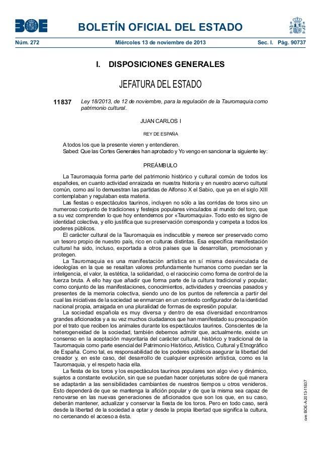 BOLETÍN OFICIAL DEL ESTADO Núm. 272  Miércoles 13 de noviembre de 2013  Sec. I. Pág. 90737  I. DISPOSICIONES GENERALES ...