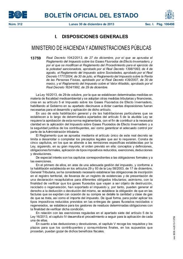 BOLETÍN OFICIAL DEL ESTADO Núm. 312  Lunes 30 de diciembre de 2013  Sec. I. Pág. 106498  I. DISPOSICIONES GENERALES  MI...