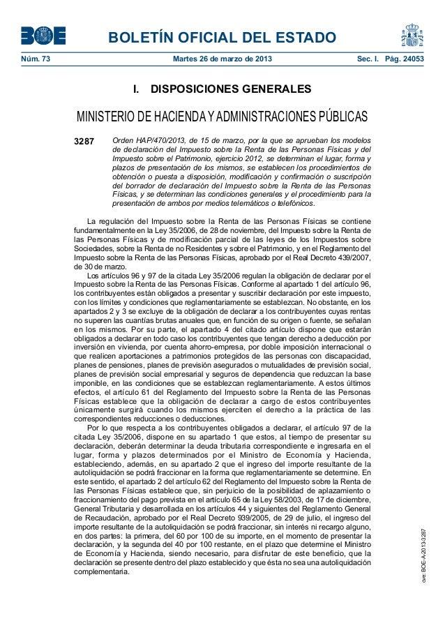 BOLETÍN OFICIAL DEL ESTADONúm. 73                                 Martes 26 de marzo de 2013                            ...