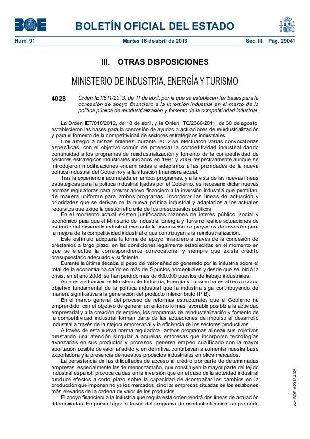 BOLETÍN OFICIAL DEL ESTADONúm. 91 Martes 16 de abril de 2013 Sec. III. Pág. 29041III. OTRAS DISPOSICIONESMINISTERIO DE ...