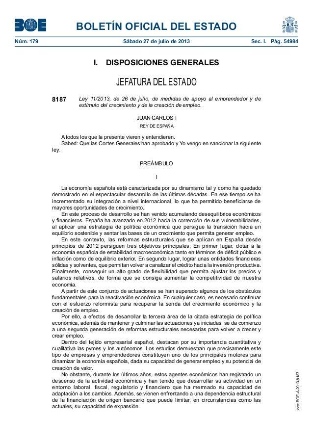 BOLETÍN OFICIAL DEL ESTADO Núm. 179 Sábado 27 de julio de 2013 Sec. I. Pág. 54984 I. DISPOSICIONES GENERALES JEFATURA D...