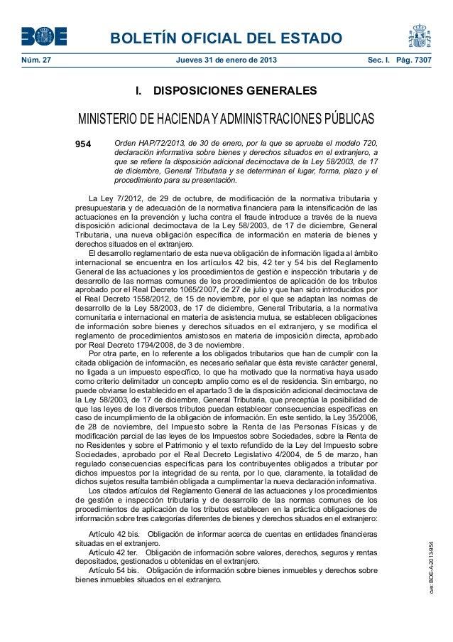 BOLETÍN OFICIAL DEL ESTADONúm. 27                                 Jueves 31 de enero de 2013                            ...