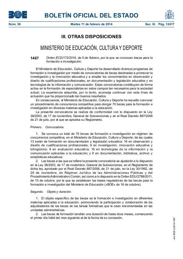 BOLETÍN OFICIAL DEL ESTADO Núm. 36  Martes 11 de febrero de 2014  Sec. III. Pág. 12417  III. OTRAS DISPOSICIONES  MINIST...
