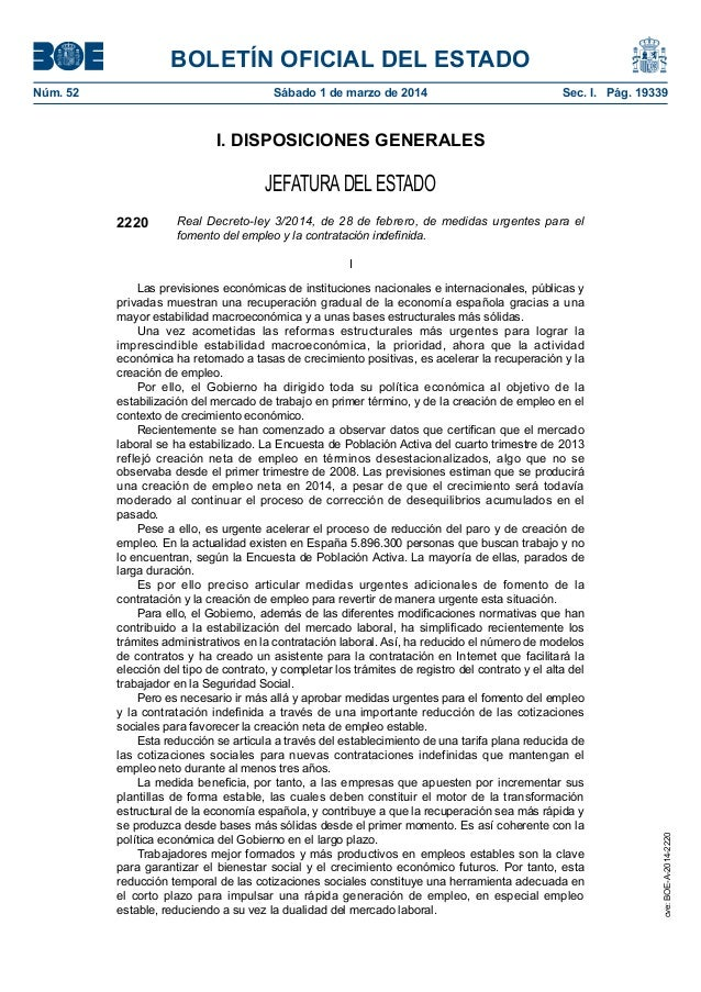 Real Decreto-ley 3/2014, de 28 de febrero, de medidas urgentes para el  fomento del empleo y la contratación indefinida.