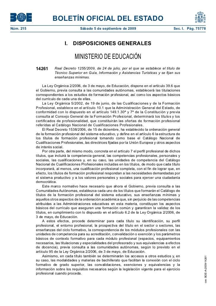 BOLETÍN OFICIAL DEL ESTADONúm. 215                               Sábado 5 de septiembre de 2009                         ...