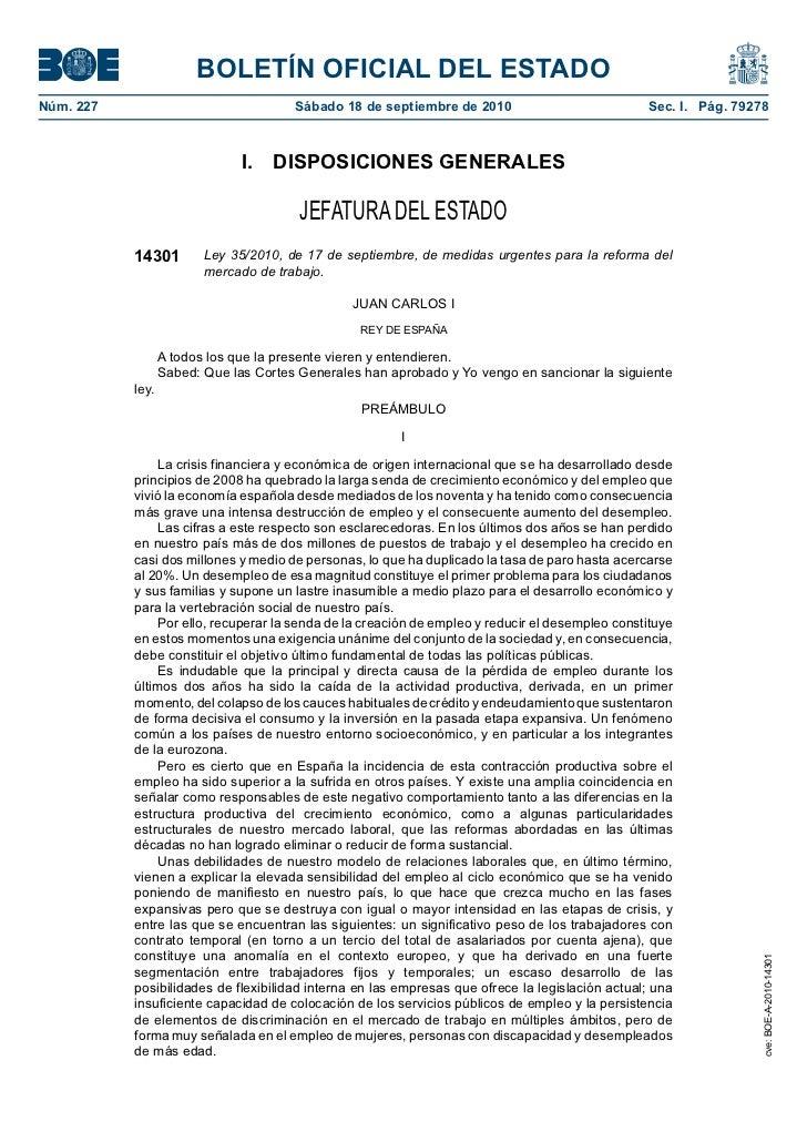 Ley 35/2010 de medidas urgentes para la reforma del mercado de trabajo