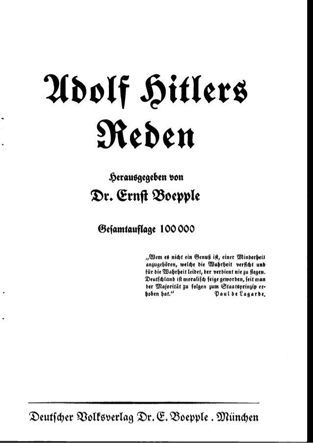Boepple, Ernst - Adolf Hitlers Reden (1933, 127 S., Scan, Fraktur)