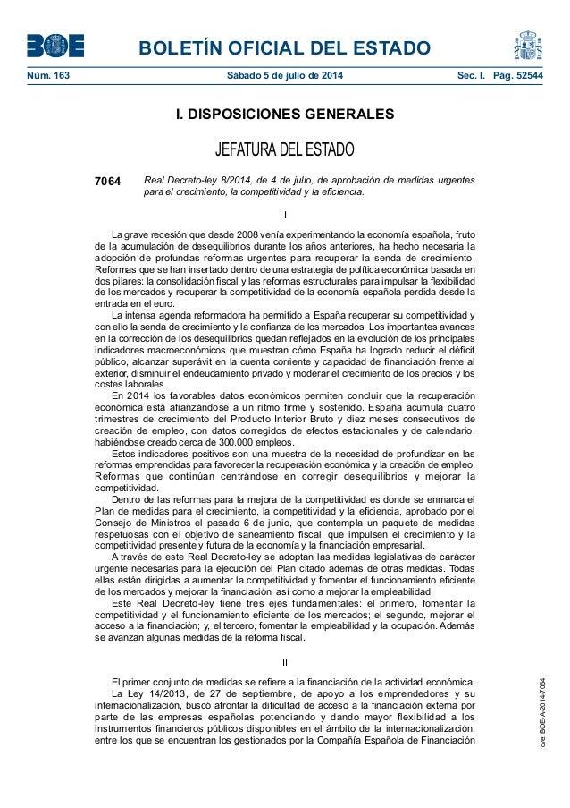 BOLETÍN OFICIAL DEL ESTADO Núm. 163 Sábado 5 de julio de 2014 Sec. I. Pág. 52544 I. DISPOSICIONES GENERALES JEFATURADEL ...