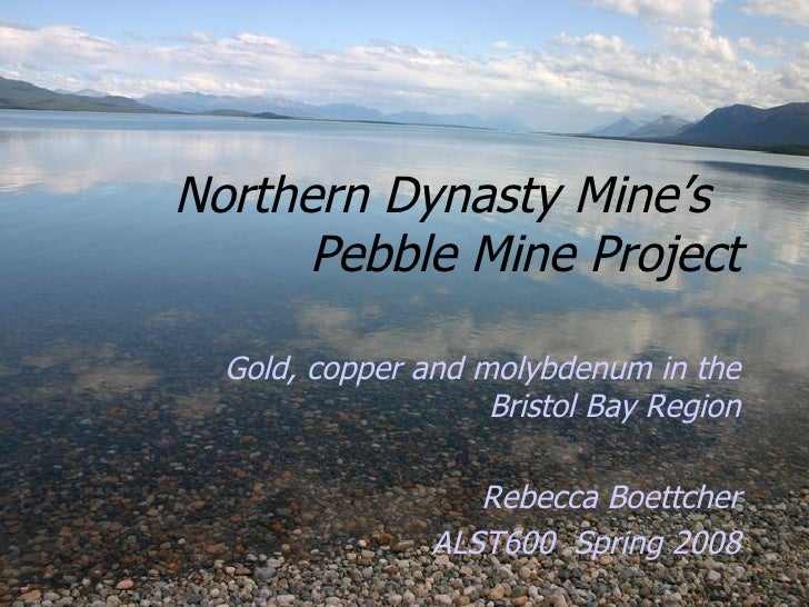 Northern Dynasty Mine's  Pebble Mine Project Gold, copper and molybdenum in the Bristol Bay Region Rebecca Boettcher ALST6...
