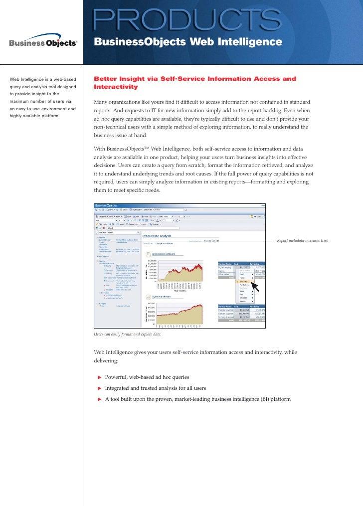 BusinessObjects Web Intelligence                                      Better Insight via Self-Service Information Access a...
