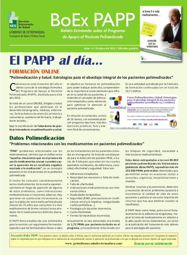 BoEx PAPP Nº 4:M  18/10/12  11:22  Página 1  Boletín Extremeño sobre el Programa de Apoyo al Paciente Polimedicado Núm. 4 ...