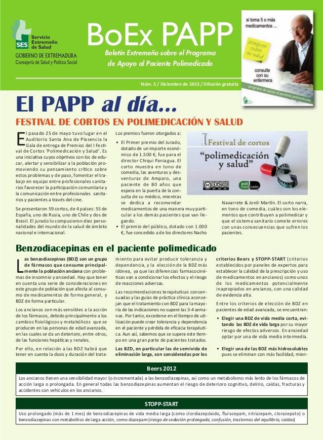 BoEx PAPP Nº 5:M  17/12/13  09:50  Página 1  Boletín Extremeño sobre el Programa de Apoyo al Paciente Polimedicado Núm. 5 ...