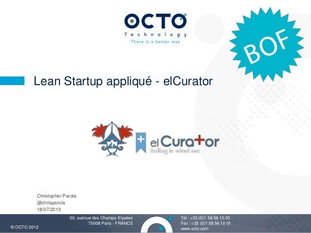 Lean StartUp appliqué à ElCurator