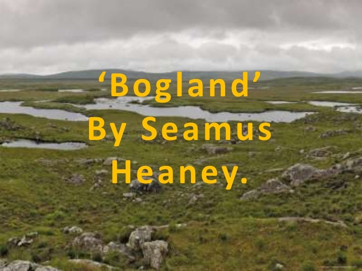 'Bogland'By Seamus Heaney.