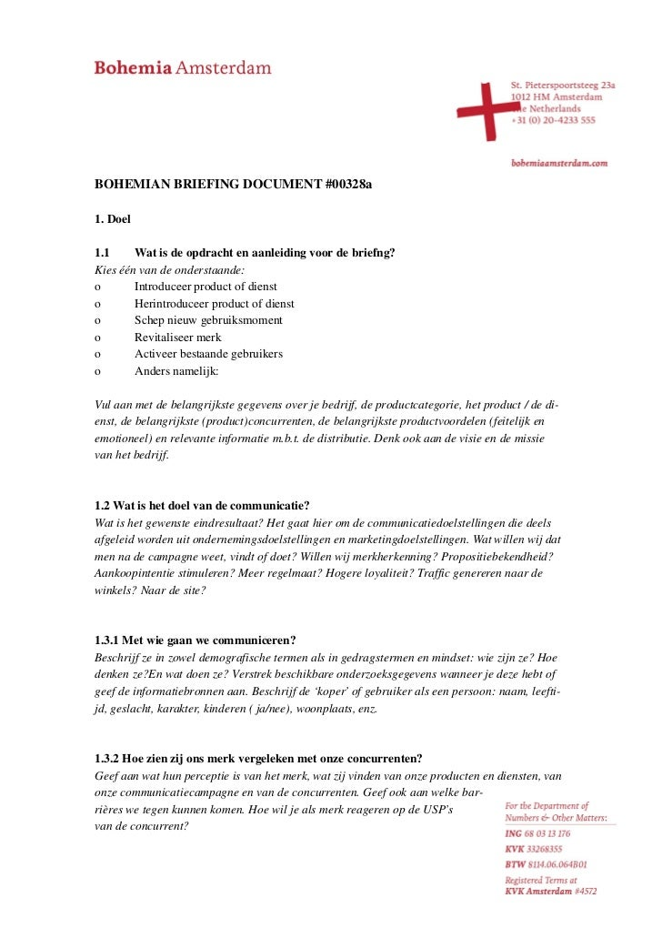 Bohemian Briefing Document #00328a Nederlands