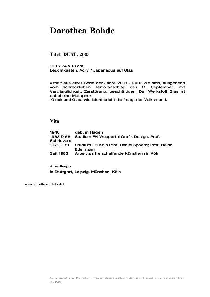 Dorothea Bohde               Titel: DUST, 2003               160 x 74 x 13 cm.              Leuchtkasten, Acryl / Japanaqu...