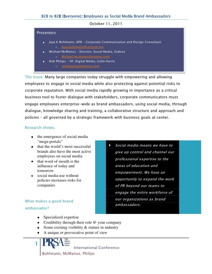 B2B to B2E (Everyone): Employees as Social Media Brand Ambassadors                                         October 11, 201...