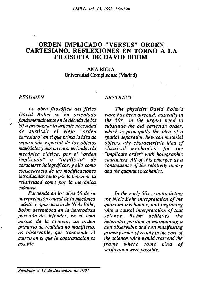 """LLULL, vol. 15, 1992, 369-394      ORDEN IMPLICADO """"VERSUS"""" ORDEN   CARTESIANO. REFLEXIONES EN TORNO A LA          FILOSOF..."""