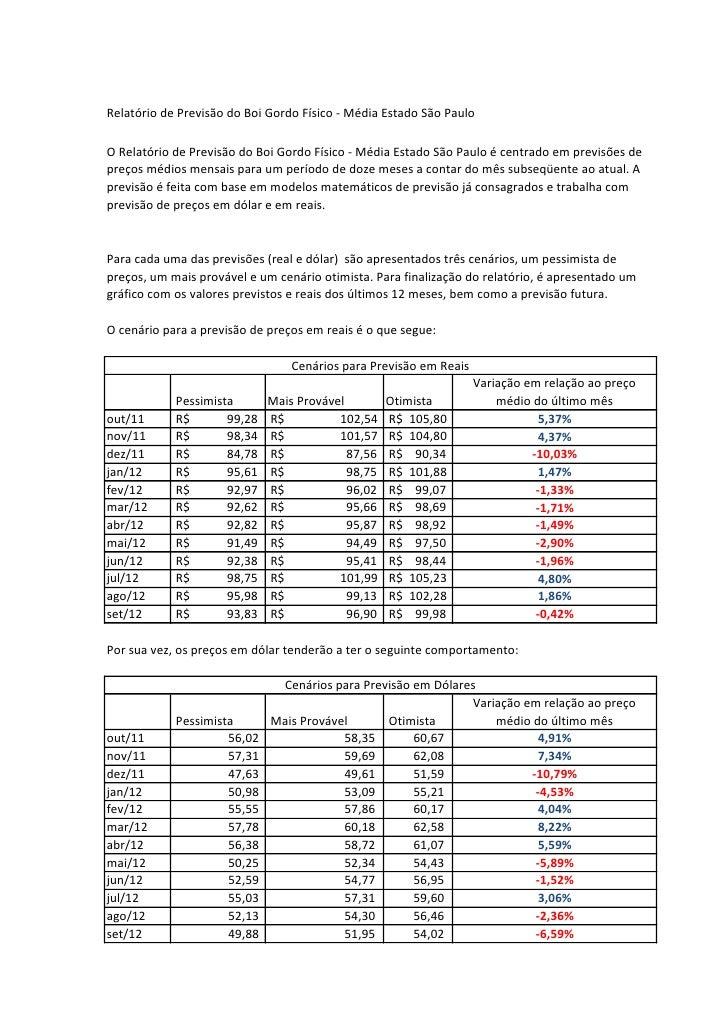 Relatório de Previsão do Boi Gordo Físico - Média Estado São PauloO Relatório de Previsão do Boi Gordo Físico - Média Esta...