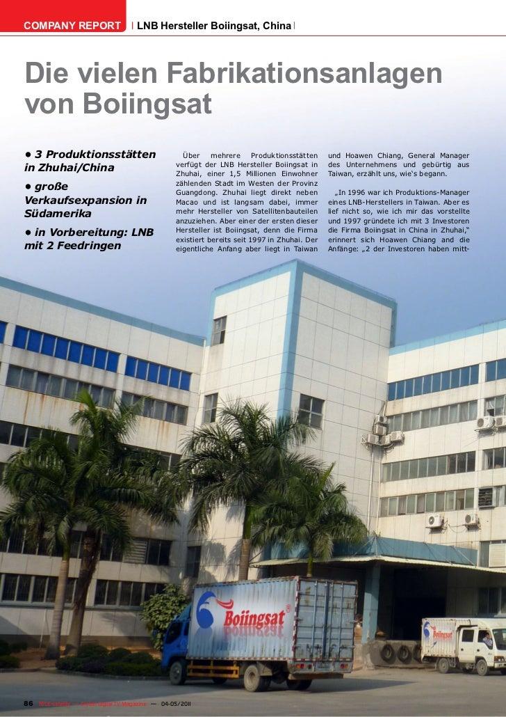 COMPANY REPORT                         LNB Hersteller Boiingsat, ChinaDie vielen Fabrikationsanlagenvon Boiingsat•3Produ...