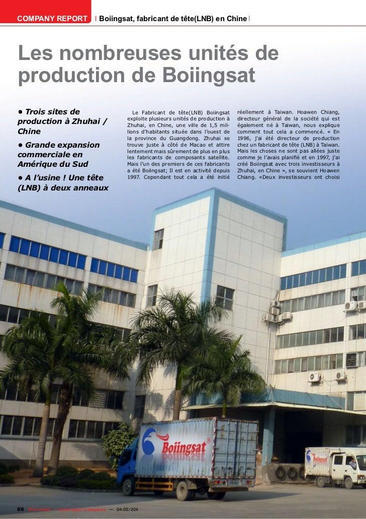COMPANY REPORT                         Boiingsat, fabricant de tête(LNB) en ChineLes nombreuses unités deproduction de Boi...